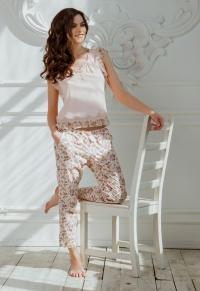 Домашние брюки с цветочным принтом