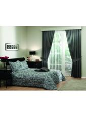Комплект для спальни покрывало и шторы Harmony siyah V-2